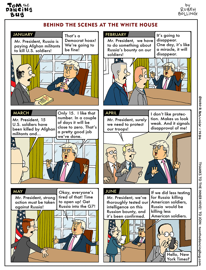 Cartoon: A month-by-month analysis of Trump's response to Russia's bounty on U.S. soldiers