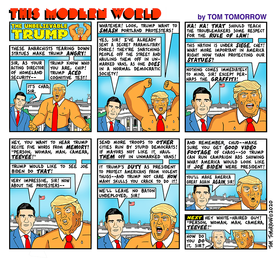 Title:  The Unbelievable Trump.  Frame One:  Trump as the Hulk says,