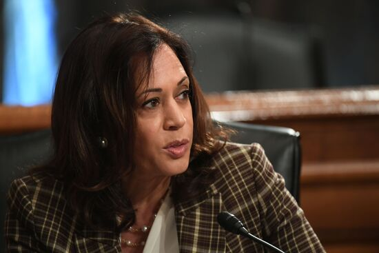 US Senator Kamala Harris (D-CA) questions Department of Homeland Security Acting Secretary, Chad Wolf, during testimony before the Senate Homeland Security and Governmental Affairs Committee on August 6, 2020 in Washington, DC, to answer questions about the use of federal agents during protests in Portland, Oregon. (Photo by Toni L. SANDYS / POOL / AFP) (Photo by TONI L. SANDYS/POOL/AFP via Getty Images)