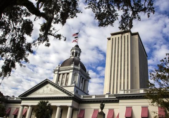 TALLAHASSEE, FL - NOVEMBER 10: A view of the historic Old Florida State Capitol building, which sits in front of the current New Capitol, on November 10, 2018 in Tallahassee, Florida.  Three close midtern election races for governor, senator, and agriculture commissioner are expected to be recounted in Florida. (Photo by Mark Wallheiser/Getty Images)