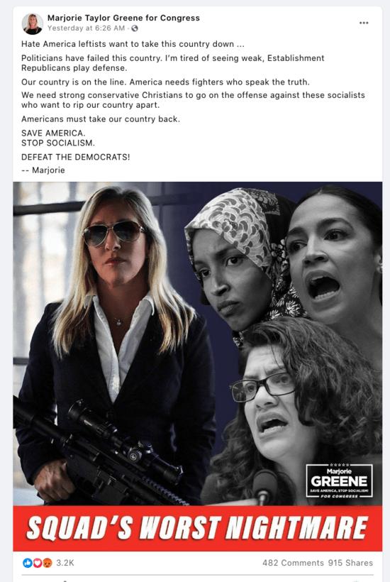 Screenshot of Marjorie Taylor Greene's Facebook post threatening Democratic members of Congress.