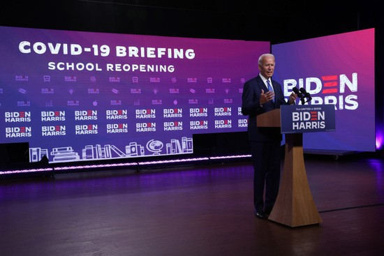 WILMINGTON, DELAWARE - SEPTEMBER 02:  Democratic presidential nominee Joe Biden speaks on the coronavirus pandemic during a campaign event September 2, 2020 in Wilmington, Delaware. Biden spoke on safely reopening schools during the coronavirus pandemic. (Photo by Alex Wong/Getty Images)