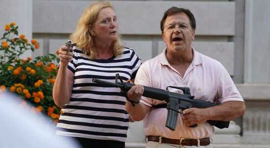"Mark and Patricia McCloskey emerged from their St. Louis mansion with guns after protesters walked onto their private street. The couple, who were criminally charged for the incident, made their case in their opening night speech of the Republican National Convention, saying that they had a ""God-given right"" to defend themselves and their property."