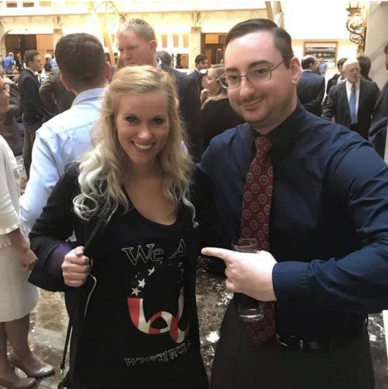 Lauren Witke, left, in a QAnon shirt