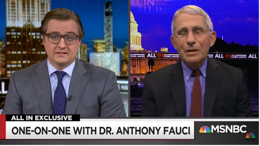 Dr. Anthony Fauci on MSNBC's All In With Chris Hayes delivers the truth on COVID-19