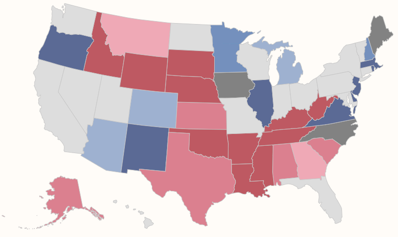 Color coded map of U.S. Senate races in 2020
