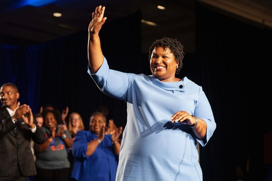 Democratic Gubernatorial candidate Stacey Abrams speaks to supporters at an election night party in the Hyatt Regency in Atlanta, Nov. 6, 2018. Republican Secretary of State Brian Kemp was ahead of Abrams, who was seeking to become the first black woman to lead a state, and early Wednesday morning Abrams suggested the race might go to a runoff. (Ruth Fremson/The New York Times)