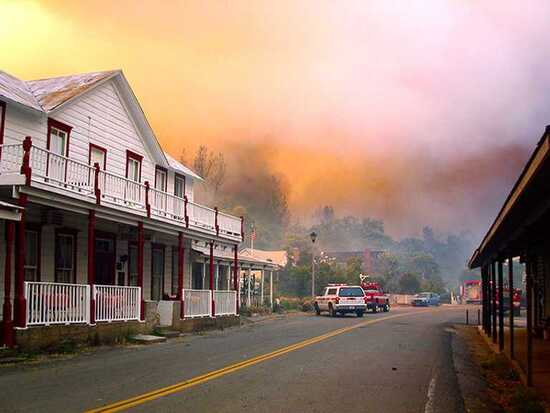 wildfire in the Whiskeytown National Recreation Area in California in August 2004.