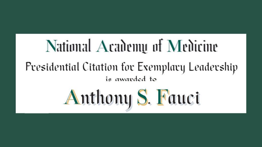 "National Academy of Medicine Award for Exemplary Leadership Goes to ""Disaster"" Anthony Fauci"
