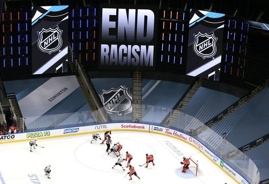 EDMONTON, ALBERTA - AUGUST 01: the Chicago Blackhawks and the Edmonton Oilers play in the first period during Game One of the Western Conference Qualification Round prior to the 2020 NHL Stanley Cup Playoffs at Rogers Place on August 01, 2020 in Edmonton, Alberta. The NHL is highlighting racial injustice and support of Black Lives Matter throughout the playoffs. (Photo by Jeff Vinnick/Getty Images)