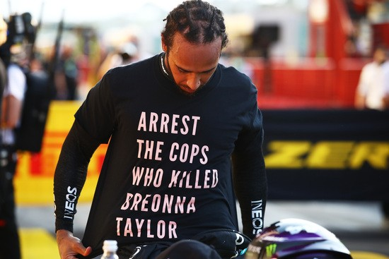 SCARPERIA, ITALY - SEPTEMBER 13: Race winner Lewis Hamilton of Great Britain and Mercedes GP wears a shirt in tribute to the late Breonna Taylor in parc ferme during the F1 Grand Prix of Tuscany at Mugello Circuit on September 13, 2020 in Scarperia, Italy. (Photo by Bryn Lennon/Getty Images)