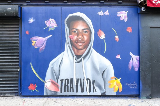 NEW YORK, NY - AUGUST 21: A view of the Trayvon Martin mural at the Trayvon Martin Mural Unveiling on August 21, 2018 in New York City. (Photo by Ben Gabbe/Getty Images for Paramount Network )