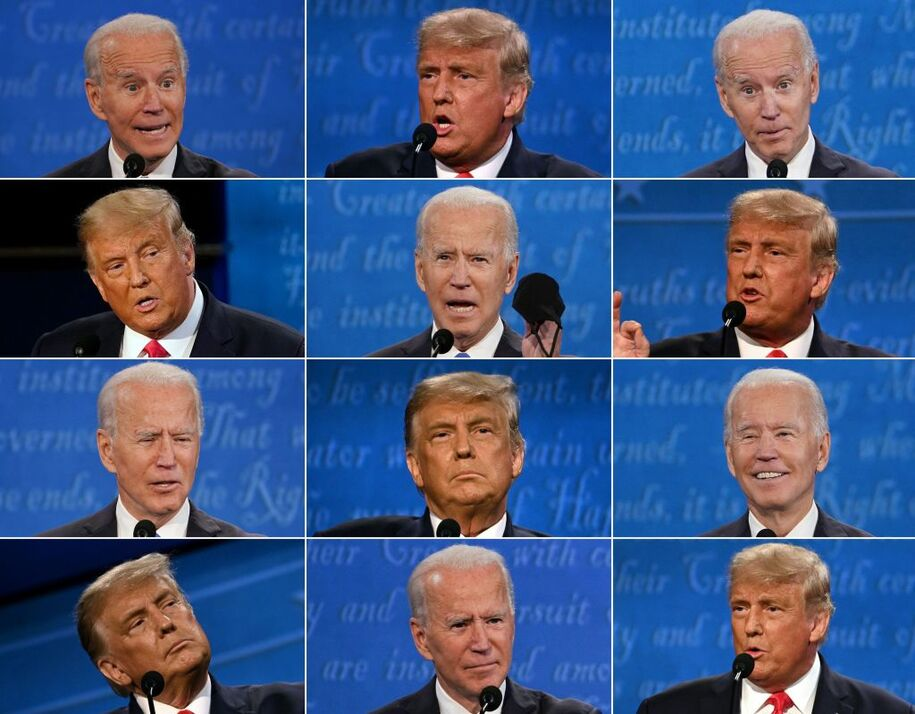 (COMBO) This combination of pictures created on October 22, 2020 shows US President Donald Trump and Democratic Presidential candidate and former US Vice President Joe Biden during the final presidential debate at Belmont University in Nashville, Tennessee, on October 22, 2020. (Photos by various sources / AFP) (Photo by BRENDAN SMIALOWSKI,JIM WATSON,MORRY GASH/POOL/AFP via Getty Images)