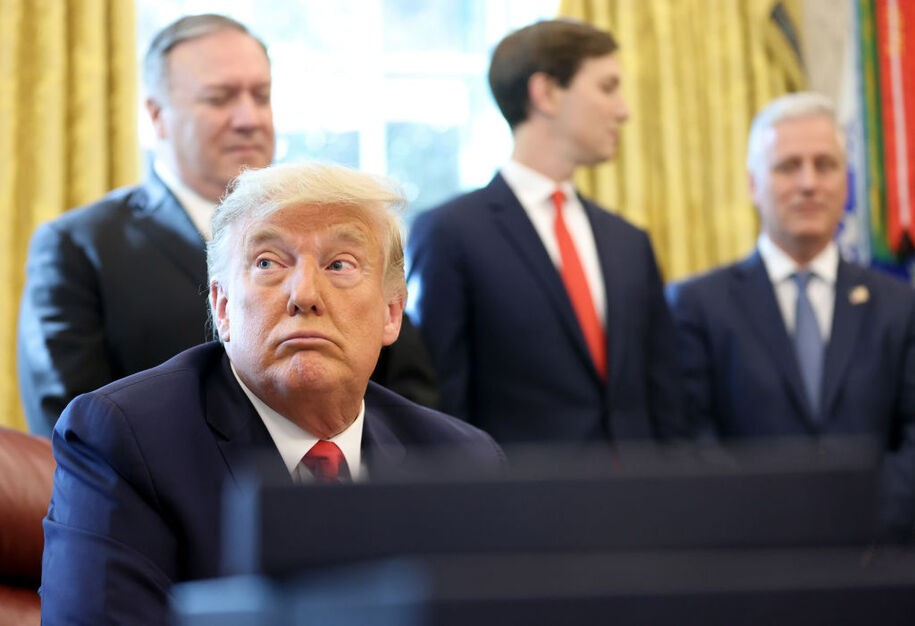 WASHINGTON, DC - OCTOBER 23: U.S. President Donald Trump speaks about a Sudan-Israel peace agreement, in the Oval Office on October 23, 2020 in Washington, DC. President Trump announced that Sudan will start to normalize ties with Israel. (Photo by Win McNamee/Getty Images)