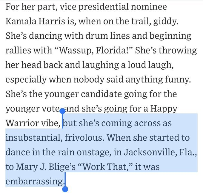 "Trump keeps making stuff up. Yet ""Peggy"" Noonan calls Kamala ""insubstantial and frivolous"""