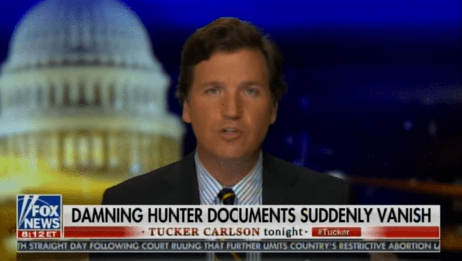 Shock! Tucker Carlson says that his treasure trove of secret Hunter Biden documents has 'vanished' thumbnail