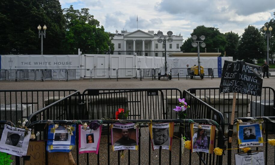 Names and photos of those killed in police incidents are displayed on a fence near the White House during Juneteenth events in Washington, DC, on June 19, 2020. - The US marks the end of slavery by celebrating Juneteenth, with the annual unofficial holiday taking on renewed significance as millions of Americans confront the nation's living legacy of racial injustice. (Photo by ANDREW CABALLERO-REYNOLDS / AFP) (Photo by ANDREW CABALLERO-REYNOLDS/AFP via Getty Images)