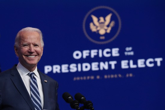 WILMINGTON, DELAWARE - NOVEMBER 10: U.S. President-elect Joe Biden addresses the media about the Trump Administration's lawsuit to overturn the Affordable Care Act on November 10, 2020 at the Queen Theater in Wilmington, Delaware. Mr. Biden also answered questions about the process of the transition and how a Biden Administration would work with Republicans. (Photo by Joe Raedle/Getty Images)