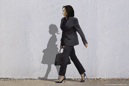 A photo illustration of Vice President-elect Kamala Harris walking alongside the shadow of civil rights trailblazer Ruby Bridges went viral after the announcement that the Biden campaign had won the 2020 presidential election. It was created by an artist working with the Sacramento-based company Good Trubble.(Good Trubble)