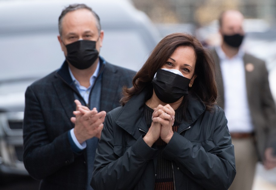 US Vice President-elect Kamala Harris and her husband Doug Emhoff, visit DC Central Kitchen ahead of the Thanksgiving holiday in Washington, DC on November 25, 2020. (Photo by SAUL LOEB / AFP) (Photo by SAUL LOEB/AFP via Getty Images)