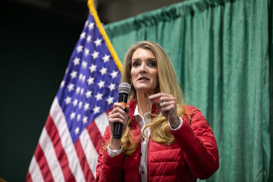 """PERRY, GA - NOVEMBER 19: U.S. Sen. Kelly Loeffler (R-GA) speaks to the crowd of supporters during a """"Defend the Majority"""" rally at the Georgia National Fairgrounds and Agriculture Center on November 19, 2020 in Perry, Georgia. Loeffler is facing Democratic U.S. Senate candidate Raphael Warnock in a January 5th runoff race. (Photo by Jessica McGowan/Getty Images"""