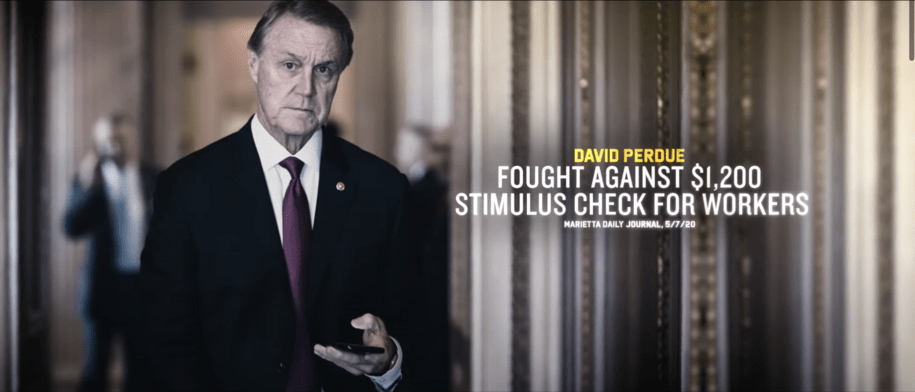 """Screenshot of Ossoff ad with still of David Perdue with text """"David Perdue fought against $1,200 stimulus check for workers."""