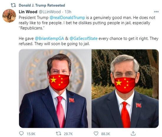 Donald Trump retweets Lin Wood calling for the arrest of Brian Kemp and Brad Raffensperger.