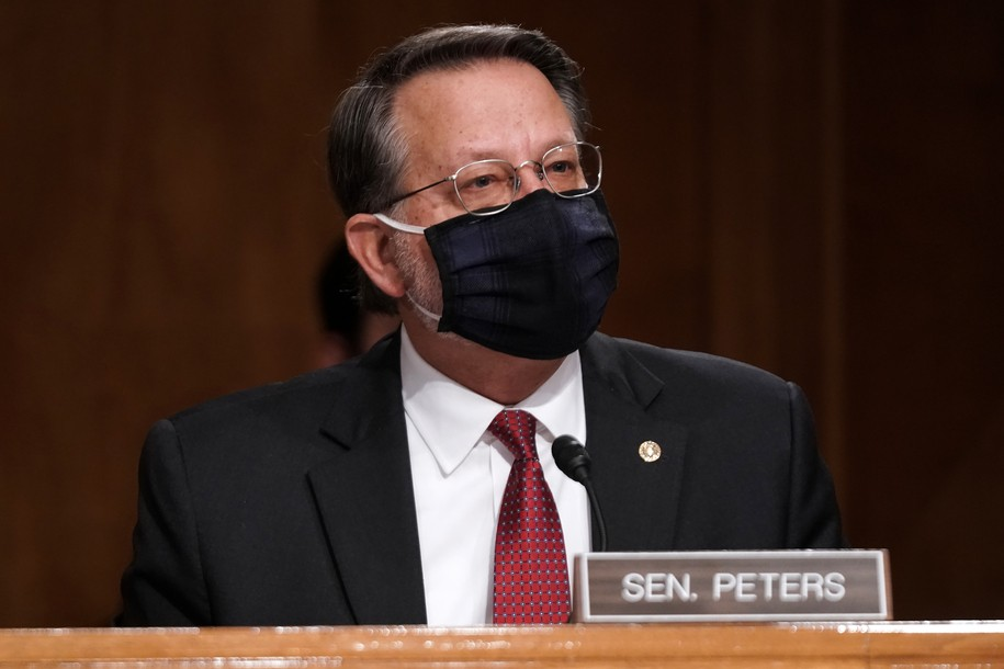 WASHINGTON, DC - DECEMBER 16: Sen. Gary Peters (D-MI) gives an opening statement during a Senate Homeland Security and Governmental Affairs Committee hearing to discuss election security and the 2020 election process on December 16, 2020 in Washington, DC. U.S. President Donald Trump continues to push baseless claims of voter fraud during the presidential election, which Chris Krebs called the most secure in American history.  (Photo by Greg Nash-Pool/Getty Images)