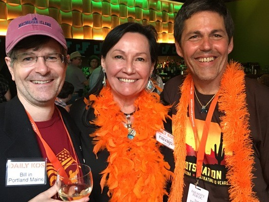 Neeta Lind, Bill in Portland Maine, and his partner, at the 2019 Netroots Nation Cheers and Jeers Party.