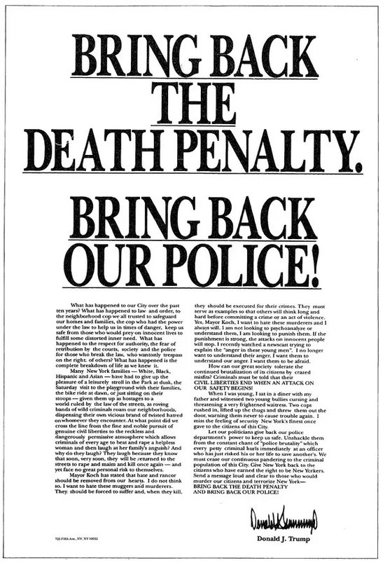 Donald Trump ad attacking Central Park 5 youths unjustly accused of sexual assault.