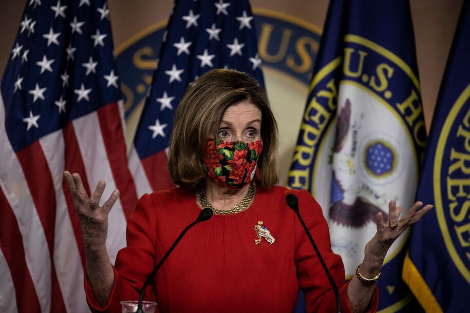 WASHINGTON, DC - DECEMBER 20: Speaker of the House Nancy Pelosi (D-CA) speaks during a press conference on Capitol Hill on December 20, 2020 in Washington, DC. Republicans and Democrats in the Senate finally came to an agreement on the coronavirus relief bill and a vote is expected on Monday. (Photo by Tasos Katopodis/Getty Images)