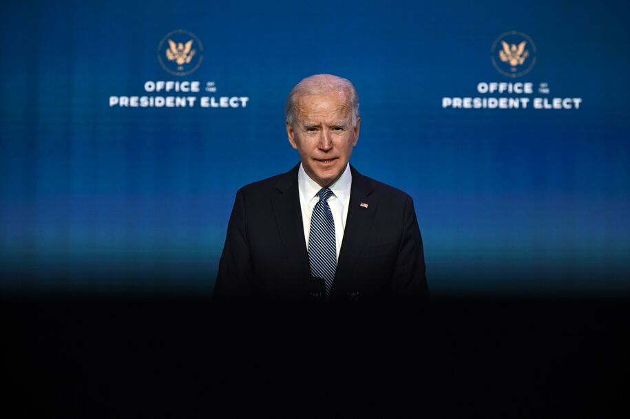 President-elect Joe Biden speaks at the Queen Theater in Wilmington, Deleware on January 7, 2021 to announce key candidates for the Justice Department. (Photo by JIM WATSON / AFP) (Photo by JIM WATSON / AFP via Getty Images)