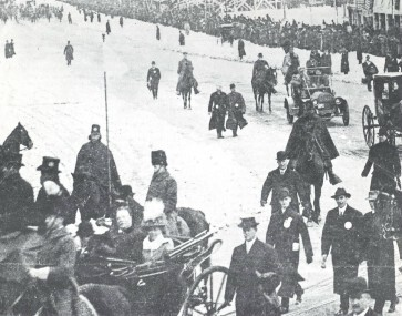 Taft inauguration in 10 inches of fresh snow. It took 6,000 men and 500 wagons to clear 58,000 tons of snow and slush from the parade route.