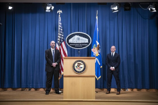 Steven D'Antuono, head of the Federal Bureau of Investigation (FBI) Washington field office, left, and Michael Sherwin, acting US attorney for the District of Columbia, participate in a news conference at the US Department of Justice in Washington, DC, on January 12, 2021. - Sedition and conspiracy are expected to be among the charges facing some of the participants in last week's attack on the Capitol, the Justice Department said Tuesday..US Attorney Michael Sherwin for the District of Columbia said he expected hundreds of criminal cases to be filed in connection with Wednesday's storming of the Capitol by rioting supporters of President Donald Trump. (Photo by Sarah Silbiger / POOL / AFP) (Photo by SARAH SILBIGER/POOL/AFP via Getty Images)