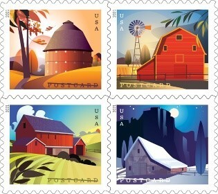 New barns series of postcard stamps to be issued on Jan. 24, 2021. The price of a postcard stamp will increase from 35¢ to 36¢.