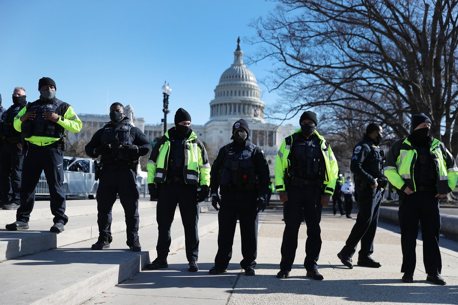WASHINGTON, DC - JANUARY 07: Members of the Metropolitan Police Department of the District of Columbia are seen in front of the U.S. Capitol a day after a pro-Trump mob broke into the  building on January 07, 2021 in Washington, DC. Congress finished tallying the Electoral College votes and Joe Biden was certified as the winner of the 2020 presidential election. (Photo by Joe Raedle/Getty Images)