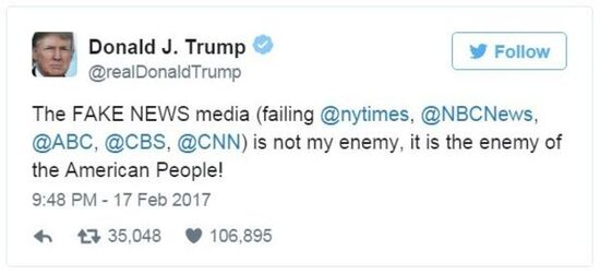 "Trump claims press is ""enemy of the people"""