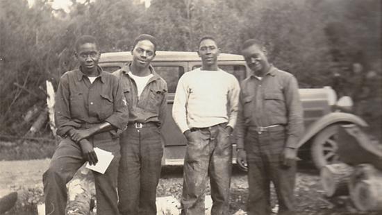 African American men of the CCC in 1935 in Cook County, Minnestota.