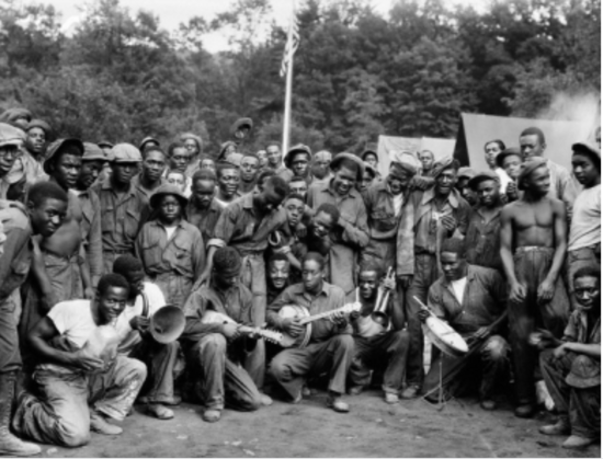 African American men in a CCC camp in 1934. Possibly in Virginia.