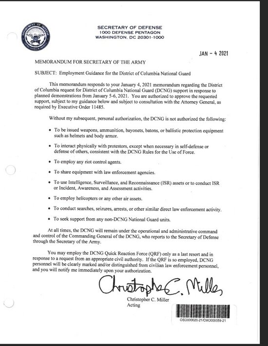 Letter from acting Sec. of Defense giving Jan.6 limits on National Guard