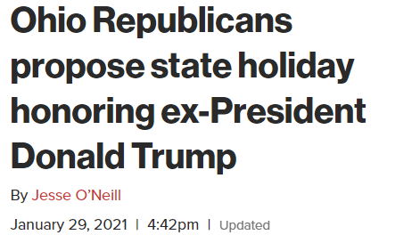 Ohio GOP wants to declare a 14 June state holiday because its Trumps Birthday
