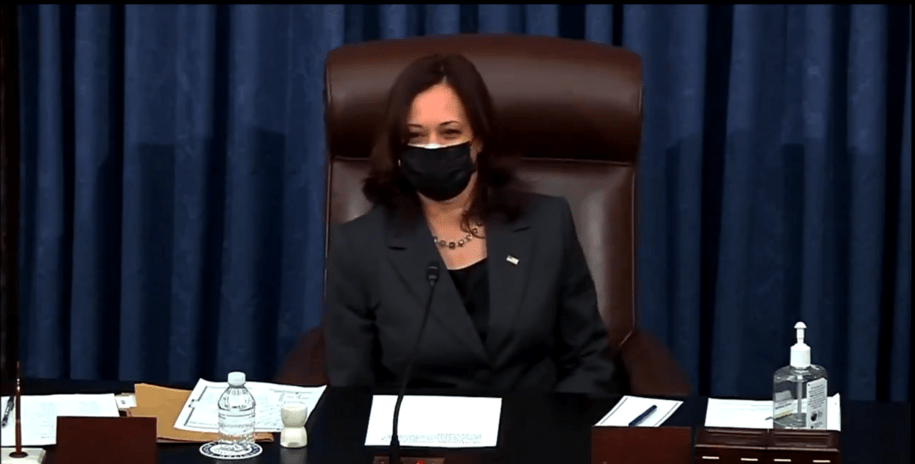 After a Senate all-nighter, Harris breaks tie to move forward on COVID-19 relief