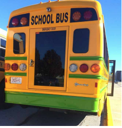 Back of an electric school bus
