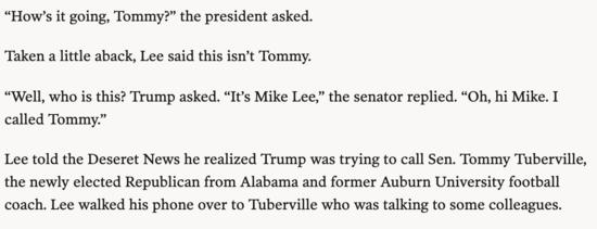 Conversation between Trump and Mike Lee.