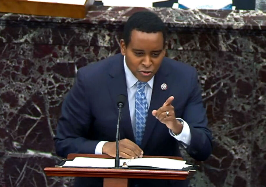 """WASHINGTON, DC - FEBRUARY 13: In this screenshot taken from a congress.gov webcast, House impeachment manager Rep. Joe Neguse (D-CO) gives closing arguments on the fifth day of former President Donald Trump's second impeachment trial at the U.S. Capitol on February 13, 2021 in Washington, DC. House impeachment managers had argued that Trump was """"singularly responsible"""" for the January 6th attack at the U.S. Capitol and he should be convicted and barred from ever holding public office again. (Photo by congress.gov via Getty Images)"""