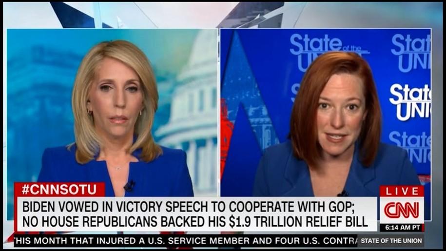 Jen Psaki squashes mainstream media pushing the Republican narrative on the COVID Relief Bill