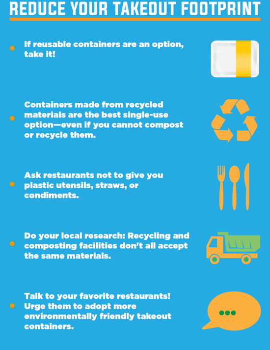 Reduce your takeout footprint If reusable containers are an option, take it! Containers made from recycled materials are the best single-use option—even if you cannot compost or recycle them. Ask restaurantsnotto give you plastic utensils, straws, or condiments. Do your local research: Recycling and composting facilities don't all accept the same materials. Talk to your favorite restaurants! Urge them to adopt more environmentally friendly takeout containers.
