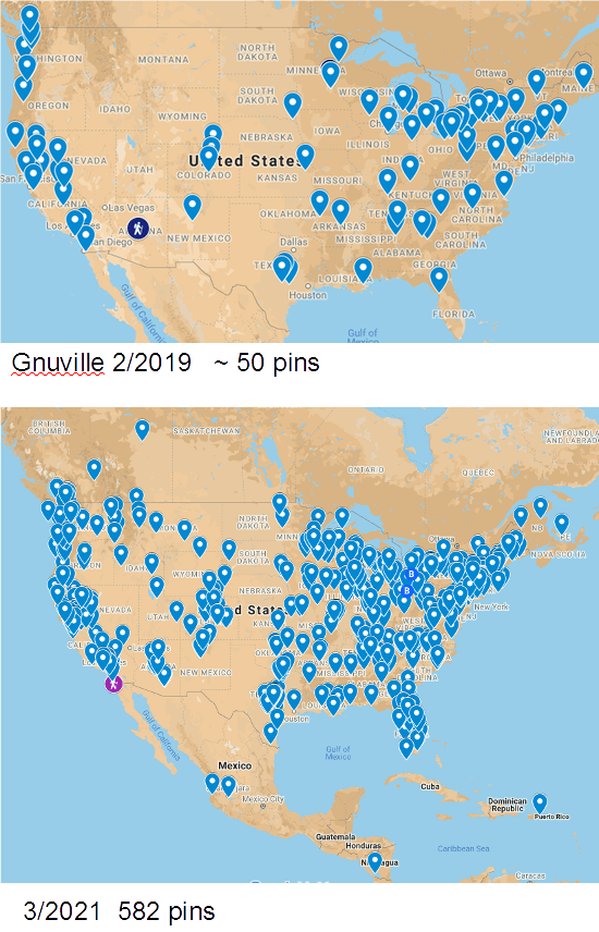 Two maps of the United States, one above the other. Both maps indicate the approximate locations of members of the Good News Roundup community of Daily Kos. The lower map contains many more blue pin-markers than the upper map. Upper image: A map of Gnuville from February 15, 2019 with fewer than 50 pins. Lower image: A map of Gnuville from March 21, 2021 with 582 member worldwide pins. Tags: Good News Roundups Gnusies maps members pinned