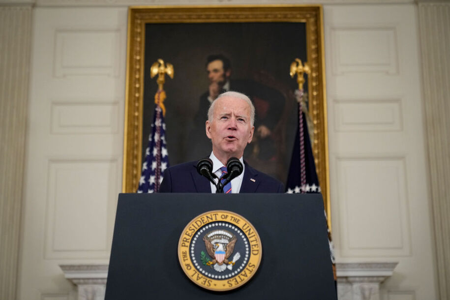 WASHINGTON, DC - APRIL 2: U.S. President Joe Biden speaks about the March jobs report in the State Dining Room of the White House on April 2, 2021 in Washington, DC. According to the U.S. Labor Department, employers added over 900,000 jobs in March, up from 416,000 in February. (Photo by Drew Angerer/Getty Images)