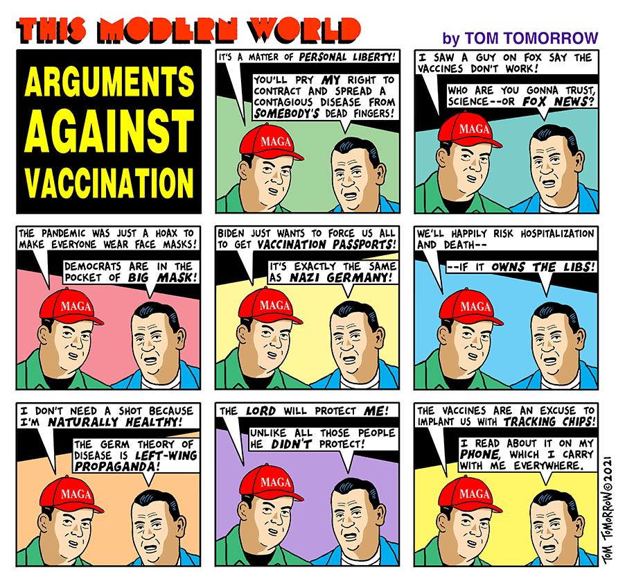 Title:  Arguments against Vaccination.  Image:  Maga-Hatted man says,